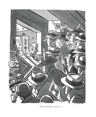Drawing - Two Demitasses by Peter Arno