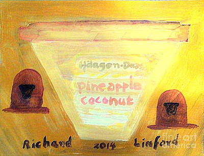 Painting - Haagen Dazs Pineapple Coconut Gold Ice Cream To Die For 1 by Richard W Linford