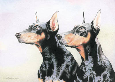 Two Doberman Art Print by Wilfrid Barbier