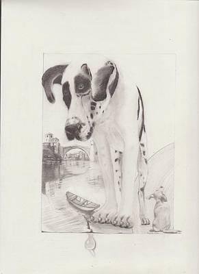 Bosnae Drawing - Two Dogs And Bridge by Refik Osmanagic