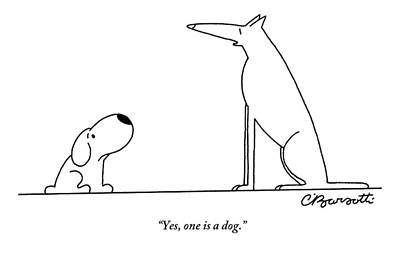 Drawing - Two Dogs Are Seen Speaking With One Another by Charles Barsotti