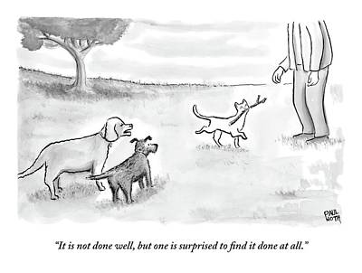 Cat Drawing - Two Dogs Criticize A Cat Who Has Just Retrieved by Paul Noth