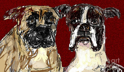 Digital Art - Two Dogs by Joyce Goldin