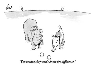 Two Dogs Stand Over Two Identical Balls That Art Print