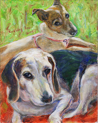 Painting - Two Dogs by Xueling Zou
