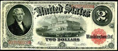 Two Dollar 1917 United States Note Fr60 Art Print by Lanjee Chee