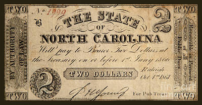 Photograph - Two Dollars The State Of North Carolina 1861 by John Stephens