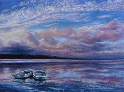 Painting - Two Dorys Waterscape  by Denise Horne-Kaplan