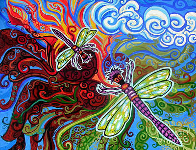 Green Movement Painting - Two Dragonflies by Genevieve Esson