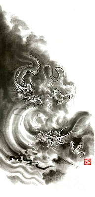 Lizards Painting - Two Dragons Gold Fantasy Dragon Design Sumi-e Ink Painting Dragon Art by Mariusz Szmerdt
