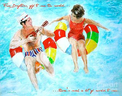 Couple Mixed Media - Two Drifters Off To See The World by Beth Saffer