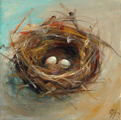 Bird Nest Painting - Two Egg Nest by Cari Humphry