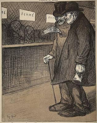 Postcards Drawing - Two Elderly Gentlemen Walking by Eugene Cadel