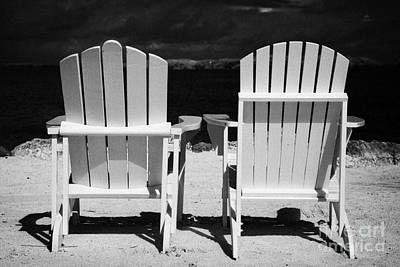 Two Empty Sun Loungers On Private Beach Islamorada Florida Keys Usa Art Print by Joe Fox