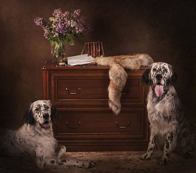 Setter Painting - Two English Setters... by Tanya Kozlovsky