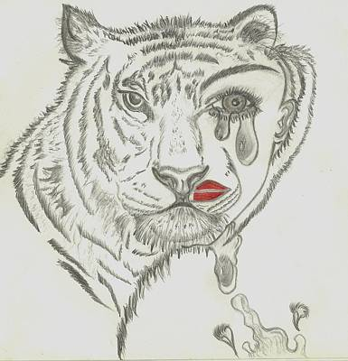 Tears Drawing - Two Faced Tiger by Nicole Burrell