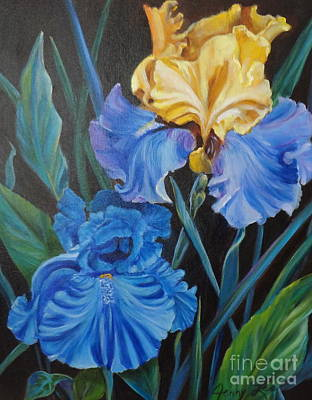 Art Print featuring the painting Two Fancy Iris by Jenny Lee