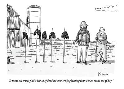 Crow Drawing - Two Farmers Stand Next Two Five Dead Crows by Zachary Kanin