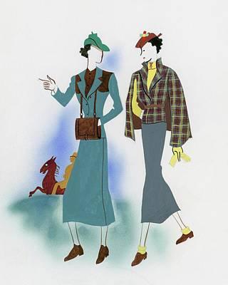 Two Fashionable Women Walking In Park Art Print