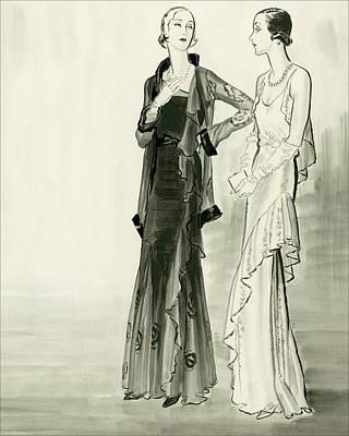 Evening Digital Art - Two Fashionable Young Women Wearing Evening by Rene Bouet-Willaumez