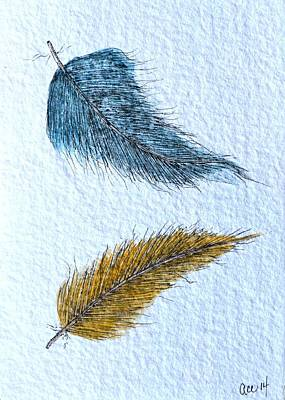 Painted Details Drawing - Two Feathers by Anne Clark