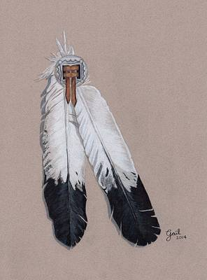 Black And White Eagle Drawing - Two Feathers by Gail Seufferlein