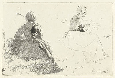 Bale Drawing - Two Figure Studies Of Peasant Woman Sitting On Hay Bale by Artokoloro