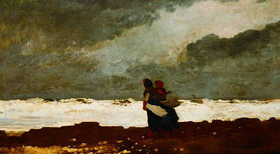 Rain Hat Digital Art - Two Figures By The Sea by Winslow Homer