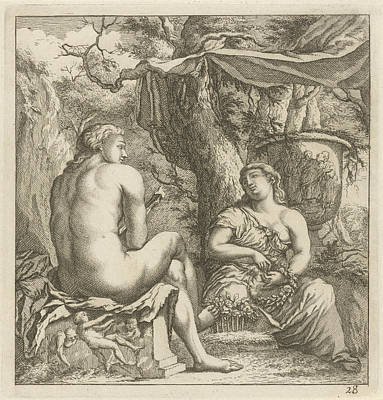 Two Figures In A Classical Landscape, Arnold Houbraken Art Print