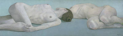 Painting - Two Figures Lying by Steve Mitchell
