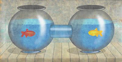 Segregation Digital Art - Two Fish by Steve Dininno