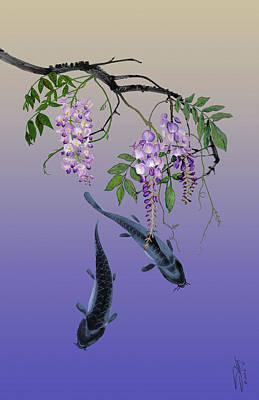 Catfish Digital Art - Two Fish Under A Wisteria Tree by IM Spadecaller