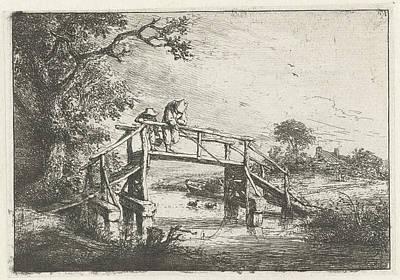Angling Drawing - Two Fishermen On A Bridge, Adriaen Van Ostade by Adriaen Van Ostade