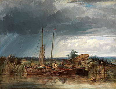 Net Painting - Two Fishing Boats On The Banks Of Inland Waters Signed by Litz Collection