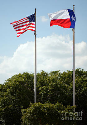 Photograph - Two Flags In Texas by Connie Fox