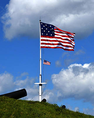 Photograph - Two Flags Over Fort Mchenry by Bill Swartwout Fine Art Photography