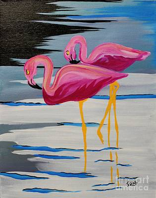 Two Flamingo's In Acrylic Original by Janice Rae Pariza