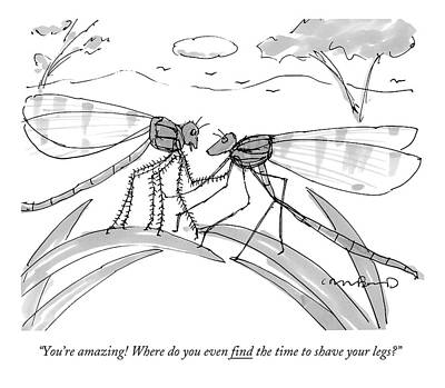 Romance Drawing - Two Flies In A Relationship Discussing by Michael Crawford