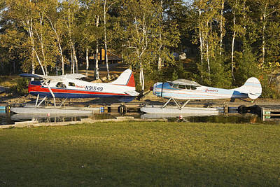 Photograph - Two Float Planes On Moosehead Lake Near Greenville Maine  by Keith Webber Jr