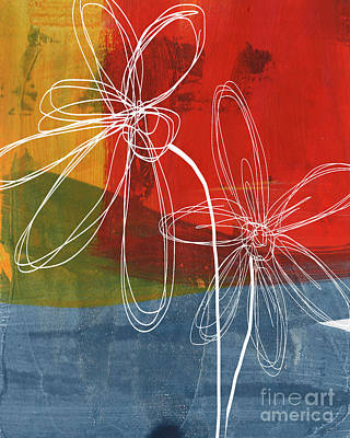 Abstract Flower Wall Art - Painting - Two Flowers by Linda Woods