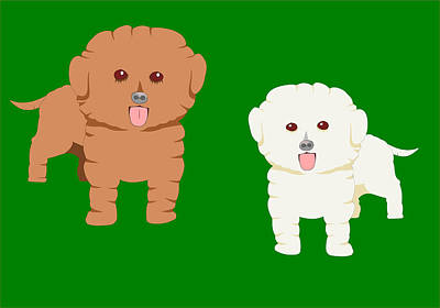 Drawing - Two Fluffy Pet Dogs by John Orsbun