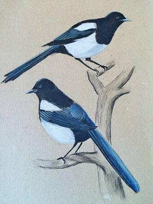 Magpies Mixed Media - Two For Joy by Nina Shilling