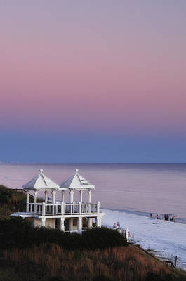 Two For Joy - Twin Gazebos At Twilight Art Print by Photography  By Sai