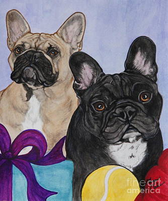 Watercolor Pet Portraits Painting - Two French Bulldogs by Megan Cohen
