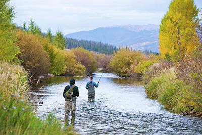 Colorado Fly Fishing River Wall Art - Photograph - Two Friends Fly Fishing Together by Rob Hammer