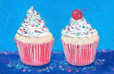 Cake Art Painting - Two Frosted Cupcakes by Jan Matson