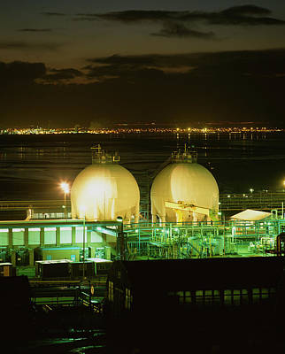 Cheshire Wall Art - Photograph - Two Gas Storage Spheres At Ici Chemical Works by Martin Bond/science Photo Library
