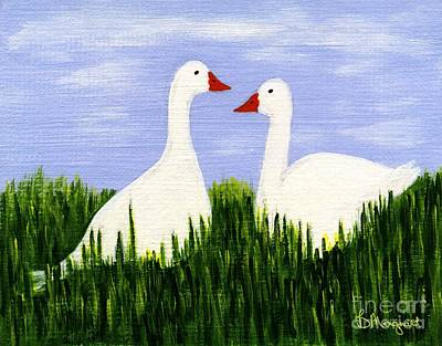 Painting - Two Geese by Barbara Moignard