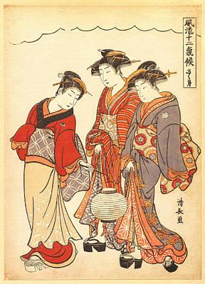 Green Lantern Painting - Two Geisha Preceded By A Maid Carrying A Lantern by Torii Kiyonaga