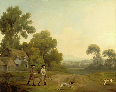 Limestone Painting - Two Gentlemen Going A Shooting Two Gentlemen Out Shooting by Litz Collection